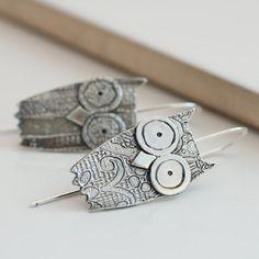 Handmade Silver Owl Baby Earrings by greenriverstudio on Etsy, £50.00