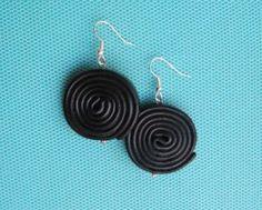 Licorice wheel fimo earrings