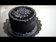 Einfache Kreidetafel Torte - Chalkboard Cake Tutorial - Kreidetafel Tortendeko - Kuchenfee - YouTube