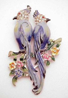 Coro Signed Duette Blue Enameled Cockatoos