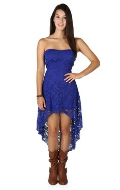 Strapless High Low Lace Dress with Open Bow Back