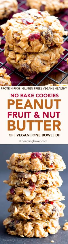 No Bake Gluten Free Peanut Butter Fruit & Nut Cookies (V, GF, DF): an easy, one bowl recipe for no bake peanut butter cookies bursting with dried fruits and nuts! #ProteinPacked #Vegan #GlutenFree #DairyFree BeamingBaker.com