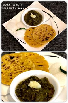 Makki di Roti and Sarson da Saag is a traditional dish of Punjab, India. It can be topped with either butter or more traditionally with ghee. Saag, Indian Food Recipes, Ethnic Recipes, Homemade Recipe, Good Food, Butter, Vegetarian, Tasty, Dishes
