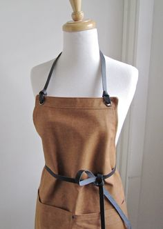 Full Denim Woman Apron - Japanese Brown Denim - Restaurant Apron - Leather Ties Straps - Crafter Apron