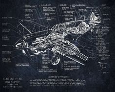 Curtiss P40 WWII airplane blueprint art 8 x 10 by ScarletBlvd, $25.00 - Great for Father's Day!
