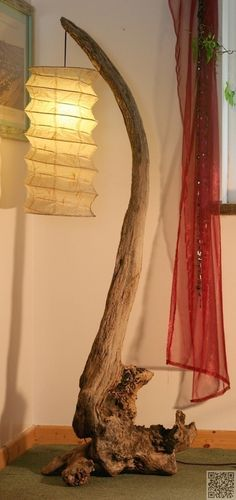 Driftwood Lamp ~ Beads in with Curtains ~ Clever ideas