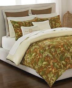Tommy Bahama Home, Tropical Harvest Queen Comforter, Bedskirt and Shams Set NEW by Ann Gish. $220.00. Tommy Bahama Comforter Set. Bedding. Tommy Bahama Home, Tropical Harvest Queen Comforter Set Reg. $335.00   Bask in this Tropical Harvest comforter set from Tommy Bahama, featuring a tropical flora pattern in warm earthy tones, creating a rich balance between a summer and autumn feel. Finished in 230-thread count sateen. Reverses to herringbone print. 230-thread count cot...