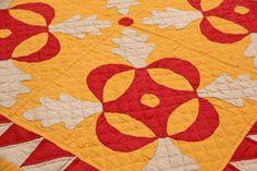 """Detail, Oak Leaf Applique Quilt, c. 1900, 84"""" x 98"""", Material Culture, Live Auctioneers"""