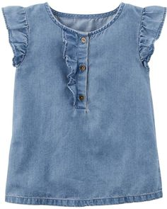 Carter's Flutter-Sleeve Denim Top, Little Girls & Big Girls - Blue 7 Kids Girls Tops, Baby Girl Tops, Carters Baby Girl, Toddler Girls, Baby Girls, Toddler Jeans, Baby Jeans, Chambray Top, Denim Top