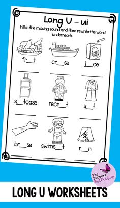 These long vowel worksheets are just what you need for you Kindergarten or First Grade students! These no prep worksheets are perfect for Literacy lessons, Literacy centers or word work. Are you teaching your class about long U sounds - long ew, long ue, long ui and long u with magic e? These printables will be easy to implement and engaging during your spelling or reading lessons. These ready to go worksheets are accessible to all students and are easy to implement. Phonics Sounds, Vowel Sounds, Long Vowel Worksheets, Long Vowels, Reading Lessons, Word Work, Literacy Centers, First Grade, Spelling