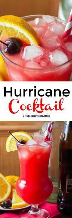 Hurricane Cocktail by Noshing With With The Nolands is a delectable combination of rums, grenadine and fruit juices that will take you away to the tropics with just one sip! Fun Cocktails, Party Drinks, Cocktail Drinks, Cocktail Recipes, Drink Recipes, Pool Drinks, Fruit Party, Fruit Drinks, Fruit Juice
