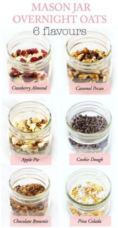 6 DIY Mason Jar Overnight Oat Recipes {Gift in a Jar These DIY Mason Jar Instant Overnight Oats are a fun, healthy and practical breakfast or edible gift idea. Free printable chalkboard labels included for all six delicious flavours! Mason Jar Meals, Meals In A Jar, Mason Jar Diy, Mason Jar Food, Mason Jar Recipes, Mason Jar Lunch, Mason Jar Drinks, Healthy Breakfast Recipes, Healthy Drinks