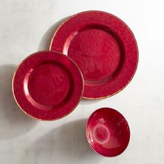 Evelyn Crimson Red Glass Dinnerware | Pier 1 Imports Porcelain Dinnerware, Dinnerware Sets, China Dinnerware, Christmas Deco, Red Glass, Tablescapes, Plates, Dishes, Make It Yourself