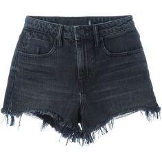 Alexander Wang Destroyed Denim Shorts ($327) ❤ liked on Polyvore featuring shorts, grey, gray shorts, jean shorts, ripped denim shorts, frayed shorts and cotton shorts