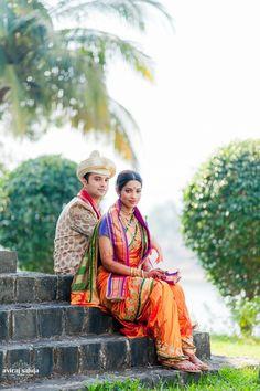 cream and gold sherwani, orange and green kasta saree