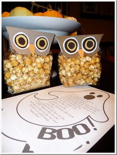 owl caramel corn treat