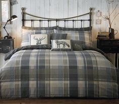 The Connelly check collection will add warmth to any bedroom . The reverse of the duvet is a stripe design with small stag heads. Matching cushion available.Includes: 1 x Duvet Cover, 2 x PillowcaseDuvet Cover Dimensions: x Super King Duvet Covers, King Duvet Cover Sets, Double Duvet Covers, Duvet Sets, Marble Duvet Cover, Duvet Bedding, King Comforter, Comforter Cover, Grey Bedding