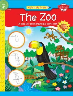 For the preschool artist, includes 11 drawing lessons with prompts to draw simple animals from a story about animals in the zoo. Includes instructions for drawing a simple panda, toucan, monkey, and more. Childrens Books, Drawing Lessons, Art Lessons, Zoo Animals For Kids, Zoo Book, Walter Foster, Reward Stickers, In The Zoo, Historia