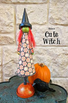 morena's corner: How to Make a Cute Halloween Witch with Martha Stewart Decoupage - Click thru for the full tutorial for this Halloween DIY idea using the Martha Stewart Crafts line