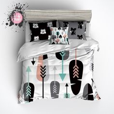 Arrow Owl and Deer Woodland Kids Duvet Bedding Sets - Ink and Rags Teen Bedding Sets, Duvet Bedding Sets, Luxury Bedding Sets, King Comforter, Owl Bedding, Black Bedding, Quilt Bedding, Brave, Bedding