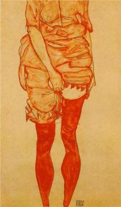 Standing Woman in Red - Egon Schiele
