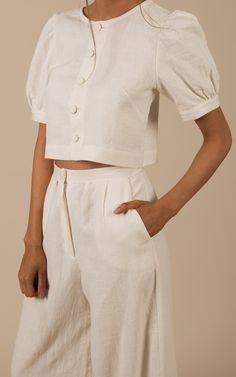 Suit Fashion, Fashion Outfits, Linen Skirt, Puff Sleeves, Mode Inspiration, Fashion Books, Office Outfits, Comfortable Outfits, Covered Buttons