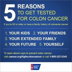 Here is a reminder from the American Cancer Society about colon cancer screenings. Click through to the ACS website to learn more.