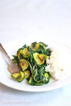 Need to use up some zucchini? Try this easy curried zucchini and swiss chard recipe. A tasty vegetarian meal or try it with meat & fish.