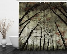 Amazon.com: Ambesonne Nature Decor Collection, Mystic Dark Forest Dead Trees, Polyester Fabric Bathroom Shower Curtain Set with Hooks, Green Black Khaki: Home & Kitchen