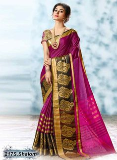 Eye Catching Purple Coloured Cotton Embroidered Saree