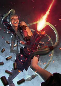 Minigun Madness by Rafael De Guzman on ArtStation. League Of Legends Art, League Of Legends Characters, Fictional Characters, Lol Jinx, Game Character, Character Design, Mecha Anime, Shadowrun, Fantasy Girl