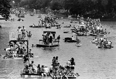 Three Rivers Festival crowd for launching at city utilities park for the Raft Race in 1974 Photo Courtesy of ACPL