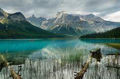 Emerald Lake und der President-Gebirgszug im Yoho-Nationalpark, Provinz British Columbia