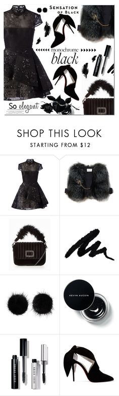 """Mission Monochrome: All-Black Outfit"" by lastchance ❤ liked on Polyvore featuring Alex Perry, Off-White, Wild & Woolly, Bobbi Brown Cosmetics, Christian Louboutin, Vision, lastchance and allblackoutfit"
