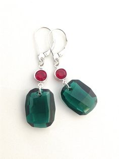 #Christmas #Earring #Red and #Green #Swarovski Crystal by #UrbanClink $37.00