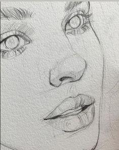 Easy Pencil Drawings, Cool Art Drawings, Realistic Drawings, Easy Hand Drawings, Drawings Of Girls Faces, Cute Drawings Of People, Drawing People Faces, Pencil Sketching, Free Hand Drawing