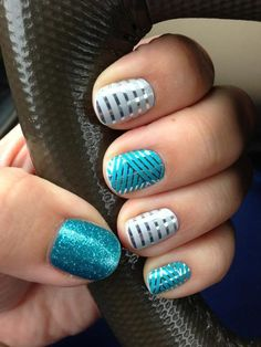 turquoise criss cross, turquoise sparkle, silver pinstripe = must haves for summer http://designsbyemilyf.jamberrynails.net/