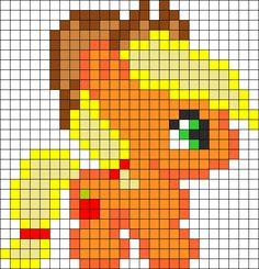 Cute Applejack Perler Bead Pattern | Bead Sprites | Characters Fuse Bead Patterns