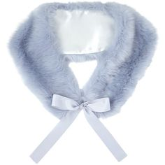 Miss Selfridge Faux Fur Neck Tie, Ice Blue ($12) ❤ liked on Polyvore featuring outerwear, evening cape, blue necktie, cape coat, neck ties and faux fur cape coat