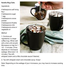 5 Minute Nutella Mug Cake. After trying this,I'd recommend splitting the recipe into two mugs to avoid the bake-splosion that happened in my microwave and cut the cooking time to about a minute. Try it in 30 second intervals to avoid overcooking and yucky rubbery cake.