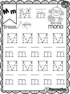 Letter Tracing Worksheets, Printable Preschool Worksheets, Tracing Letters, Writing Worksheets, Kindergarten Worksheets, Preschool Writing, Preschool Activities, Spanish Activities, Writing Journal Covers