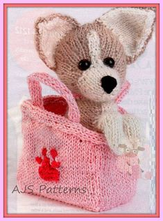 Puppy Love in bag toy knitting pattern Chihuahua dog Knitting For Kids, Knitting Projects, Knitting Toys, Simply Knitting, Free Knitting, Knitted Dolls, Crochet Toys, Knitted Gifts, Animal Knitting Patterns
