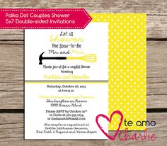 Kitchenware Couples Shower Invitations Mr and Mrs by TeAmoCharlie