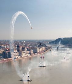 Red Bull Air Race above the Danube River in Budapest, Hungary