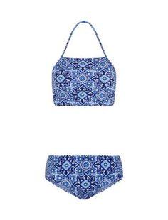 Teens Blue Tile Print Halter Neck Bikini Set  | New Look