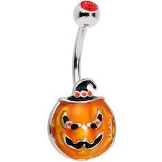 Orange Gem Spooky Jack O Lantern Belly Ring Belly Button Piercing Jewelry, Piercing Ring, Piercing Ideas, Belly Rings, Belly Button Rings, Nail Jewelry, Jewelry Box, Jewlery, Cute Piercings