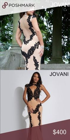 Special Occasion Dress Illusion Nude & Lace Dress Jovani Dresses Wedding