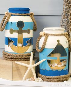 Salty air, wave washed sand and fun summer days. bring the joy of the beach into your home with these nautical inspired mason jars! (Diy Crafts With Mason Jars) Mason Jar Projects, Mason Jar Crafts, Mason Jar Diy, Beach Mason Jars, Beach Jar, Beach Crafts, Summer Crafts, Diy Crafts, Paper Crafts