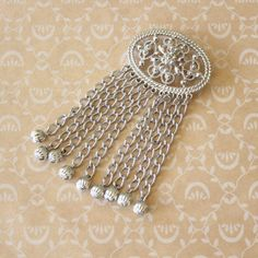 Vintage Sarah Coventry Filigree and Fringe Brooch Pin Silver