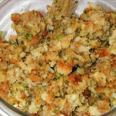 Stuffing Mom's Stuffing on BigOven: The best stuffing in the world! Never eat Stove Top again!Mom's Stuffing on BigOven: The best stuffing in the world! Never eat Stove Top again! Best Stuffing Recipe, Stuffing Recipes For Thanksgiving, Thanksgiving Sides, Thanksgiving Desserts, Christmas Desserts, Baked Stuffing, Holiday Recipes, Crockpot Stuffing, Betty Crocker Stuffing Recipe